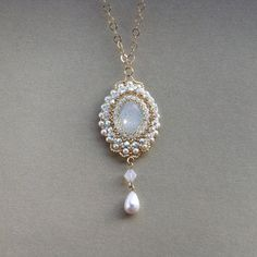 Victorian pearl necklace Victorian bridal jewelry by LioraBJewelry