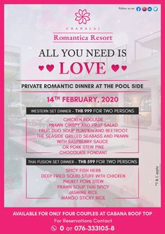 Valentine's Day Private Romantic Dinner 💞  Join us to celebrate Valentine's Day Private Romantic Dinner at Chanalai Romantica Resort at the Poolside on February 14, 2020.  ❤️ Western Set Dinner at THB 999 per couple ❤️ Thai Fusion Set Dinner at THB 599 per couple  For pre-booking please contact us at +66 (0) 76 333 105 or reservations@chanalai.com  #ValentinesDay #HappyValentinesDay2020 #RomanticDinner #RomanticGetaway #Love #LoveForever #SetDinner #WesternSetDinner #ThaiFusionSetinner Romantic Dinners, Romantic Getaway, February 14, Crystal Clear Water, Beach Town, All You Need Is Love, Phuket, Happy Valentines Day, Join