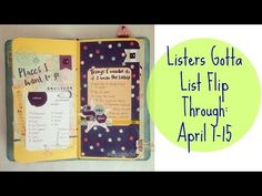 Listers Gotta List Page Flip Through April 1 - 15 Page Flip, April 1st, Flipping, Journaling, Youtube, Caro Diario, Youtubers, Youtube Movies