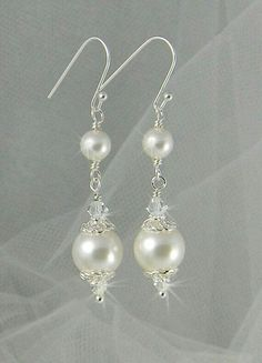 Bridal Earrings Long Dangle Pearl wedding earrings Swarovski Wedding jewelry, Swarovski Pearls, Swarovski Crystals, Abigail Earrings by CrystalAvenues on Etsy Pearl Earrings Wedding, Bridal Earrings, Pearl Jewelry, Bridal Jewelry, Jewelery, Gold Jewelry, Bridal Bracelet, Turquoise Jewelry, Pearl Bridal