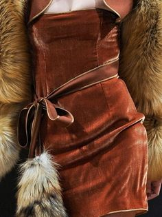 warm leather and fur   autumn
