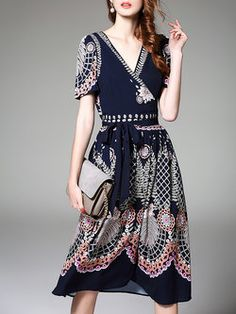 Short Sleeve Printed A-line Casual Midi Dress