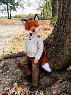 Children's Faux Fox Fur Mask handmade
