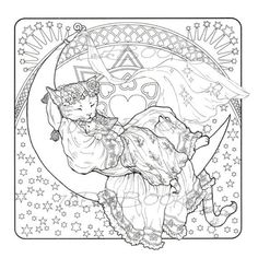 Coloring Page: Lion, Hare and Moon Downloadable Printable
