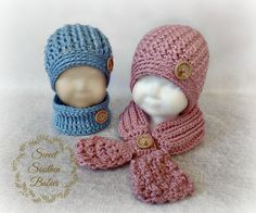 Baby and Toddler Hat and Scarf Set- Boy or Girl - Baby - Toddler - Pink or Blue - Twin Set - Baby 6-12 Months, 1T, 2T, 3T