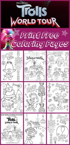 Print 9 Free Printable Coloring Pages from the Trolls World Tour Movie. 9 Trolls Coloring Sheets to choose from. Free Halloween Coloring Pages, Summer Coloring Pages, Flag Coloring Pages, Free Coloring Sheets, Printable Adult Coloring Pages, Disney Coloring Pages, Trolls Birthday Party, Troll Party, Cake Birthday