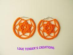 Orecchini uncinetto a cerchio di colore arancione 7cm circa, by Love Tender , 5,00 € su misshobby.com