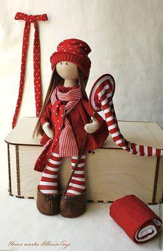 Купить Текстильная кукла Лямка в ярко-красно-белых тонах. - ярко-красный, кукла