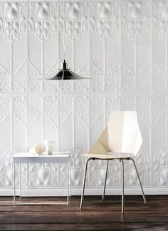 Pressed tin or wallpaper? Pressed tin or wallpaper? Pressed tin or wallpaper? Interior Barn Doors, Interior Walls, Interior Design, Interior Architecture, Tin Tile Backsplash, Art Deco Bathroom, Bathroom Ideas, Pressed Metal, Tin Walls