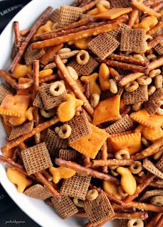 """For some reason homemade bits and bites always seems like a Christmas time treat. Which is a bit weird because there is really no """"Chri. Christmas Snacks, Xmas Food, Christmas Cooking, Christmas Time, Snack Mix Recipes, Appetizer Recipes, Cooking Recipes, Snack Mixes, Party Appetizers"""