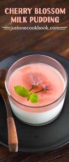 Cherry Blossom Milk Pudding | Easy Japanese Recipes at JustOneCookbook.com