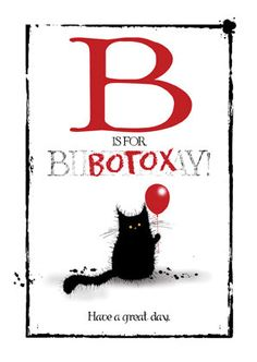B is For BOTOX naughty cat birthday card