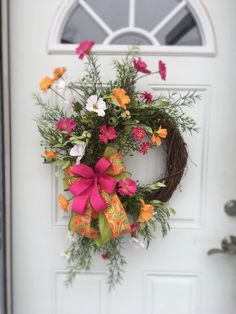 Pink and orange - Spring wreaths for front door, Wildflower wreath, Mothers Day wreath, Double door wreath, Spring wreath, Everyday wreath, Front door wreath by DecoWreathBoutique on Etsy