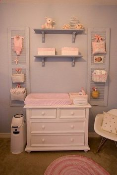 I love the idea of using shutters as a place to hang yet cute idea! #babystuffnurseries