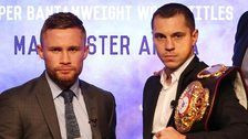 Carl Frampton and Scott Quigg in Belfast on Wednesday