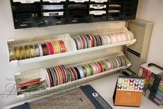 Rain gutters...great idea for storing ribbon rolls!
