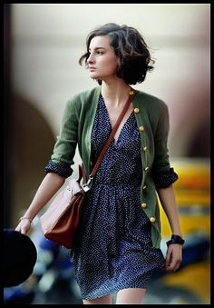 green cardi with all-over print shirtdress