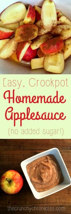 Easy and healthy homemade applesauce recipe, made in the crock pot/slow cooker. No sugar added, and no peeling necessary!