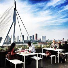 Terrace at NHOW Hotel - Rotterdam. #erasmusbrug #hotels