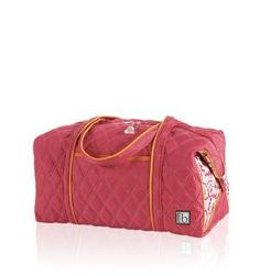 """BELLA FIORE RASPBERRY VACTATIONER Whether your itinerary is packed with activities or you're just a hopeless overpacker (can you ever have too much room?), this super-sized duffel is your new best friend. Generous enough to hold everything you'll need for a week away, it's big and sturdy but amazingly lightweight. 24""""W x 14""""D x 14""""H  16"""" strap drop"""