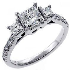 1.92 Cts Three Stone Princess Cut Diamond Engagement Ring set in 18K White Gold