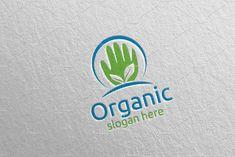 Hand Natural and Organic Logo 26 by denayunebgt on @creativemarket Organic Logo, Logo Design Template, Textures Patterns, Design Bundles, Slogan, Texts, Templates, Health Yoga, Nature