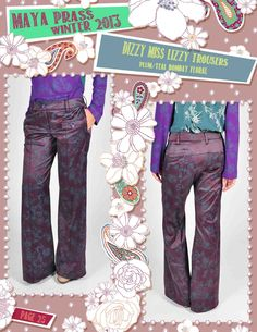 Dizzy-Miss-Lizzy trousers plum Bombay Floral