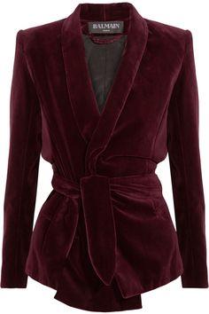 Belted velvet blazer by Balmain
