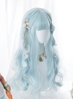 Kawaii Hairstyles, Pretty Hairstyles, Wig Hairstyles, Cosplay Hair, Cosplay Wigs, Long Curly Hair, Curly Hair Styles, Lolita Hair, Lolita Dress