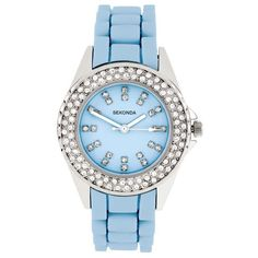Sekonda Colortime Watch ($102) ❤ liked on Polyvore featuring jewelry, watches, accessories, bracelets, blue, light blue, buckle jewelry, sparkle jewelry, party jewelry and blue watches