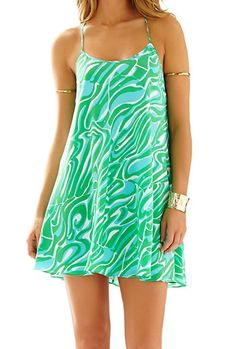 Lilly Pulitzer Maisy Strappy Racerback Slip Dressin Blue/Green/White Finders Keepers- so flattering