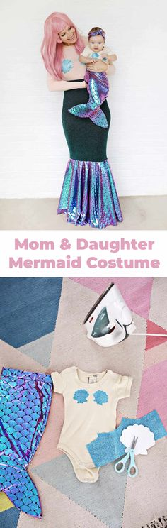 Mother + Daughter Mermaid Costume DIY - A Beautiful Mess My First Halloween, Halloween Costumes For Girls, Diy Costumes, Halloween Kids, Halloween Season, Costume Halloween, Costume Ideas, Happy Halloween, Cornrows