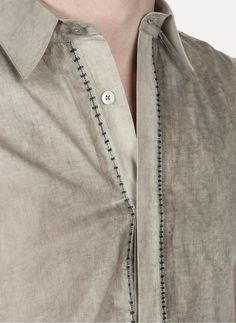 Leopold Bossert - 02 Cotton Taped Overlock Shirt https://cruvoir.com/leopold-bossert/3695-02-cotton-taped-overlock-shirt-offwhite