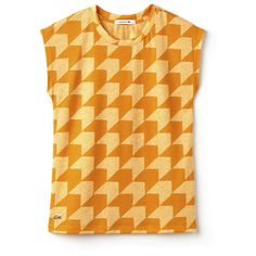 Orange Women's Crew Neck T-Shirt in Gingham Jersey (225 BRL) ❤ liked on Polyvore featuring tops, t-shirts, jersey t shirt, orange tee, striped t shirt, orange top and jersey tee