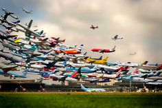 Striking Multiple Exposure Shot of Takeoffs