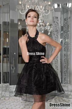 Lovely A-Line Halter Mini-Length Organza Prom Dress - HomeComing Dresses - Special Occasion Dresses