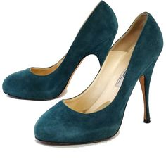 Pre-owned Brian Atwood Teal Suede Pumps ($169) ❤ liked on Polyvore featuring shoes, pumps, hidden platform pumps, platform pumps, teal shoes, flat platform shoes and suede flats