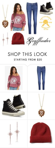 """Gryffindor pride"" by stonecldfxlol on Polyvore featuring Warner Bros., Levi's, Converse, HUE and Anne Sisteron"