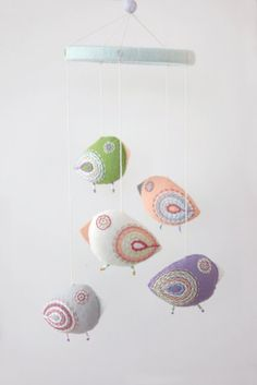 Baby mobile pastel birds by Moloco, $54.00    #mobil #kids