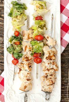 Chicken Caesar Salad Kebabs