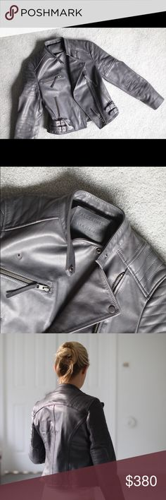 All Saints Grey Leather Jacket Amazing thick All Saints leather jacket. Amazing condition, and such a beautiful piece. 100% leather. All Saints Jackets & Coats