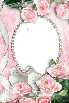 Pink Transparent Frame with Doves and Roses