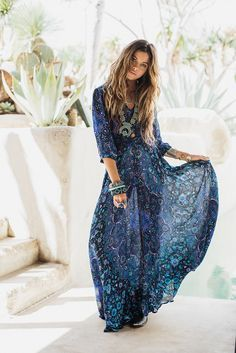 Blue dress in hippie boho bohemian gypsy style. For more follow www.pinterest.com/ninayay and stay positively #inspired.