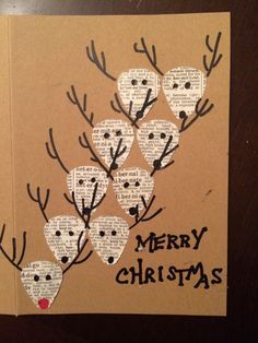 Dictionary Page Reindeer DIY Christmas Card