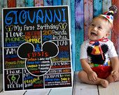Mickey Mouse Chalkboard - First 1st Birthday Mickey Mouse Chalkboard For Mickey Mouse Themed Party - Printable Chalk Poster Mickey Mouse Boy