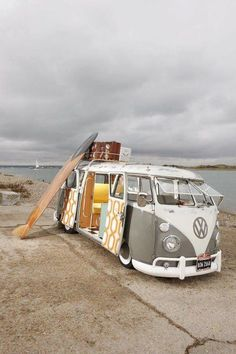 Boards and a bus - what else do you need? #Volkswagen #Beach #Adventure #RoadTrip #Wanderlust #VW #SurfsUp