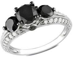 2 CT. T.W. Enhanced Black and White Diamond Vintage-Style Three Stone Ring in 10K White Gold