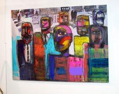 "Lunch break for the Illuminati 58 x 78"" acrylic on canvas"
