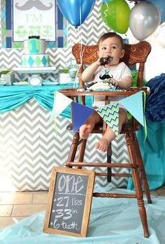 smash cake in high chair   Little Man Mustache Bash   Lillian Hope Designs