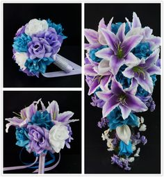 Reserved-Brittany- Ivory, jade,royal blue wedding flower package -artificial flowers